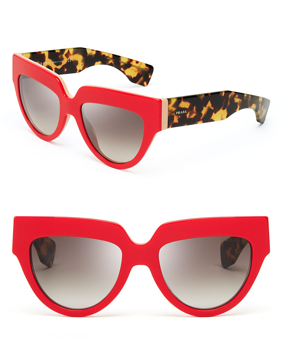bdd01d8614 ... promo code for lyst prada two tone cat eye sunglasses in red aa694 14fb2