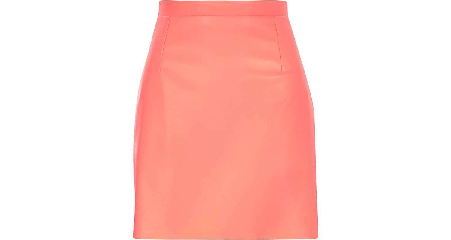 River island Bright Coral Leather-look A-line Skirt in Pink | Lyst