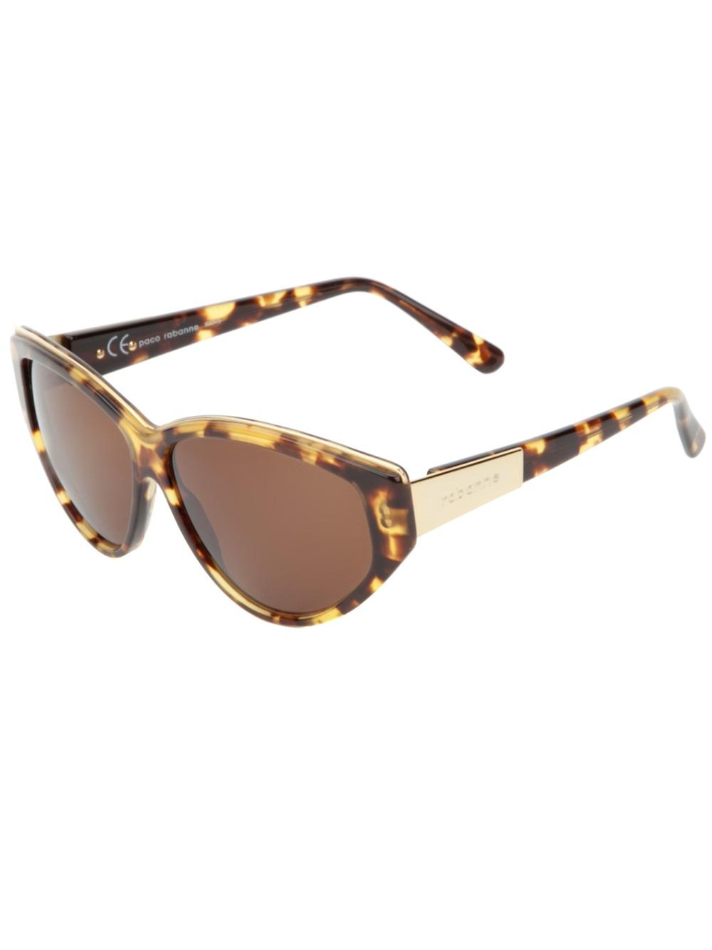 efddf68047a Lyst - Paco Rabanne Cat-Eye Frame Sunglasses in Brown