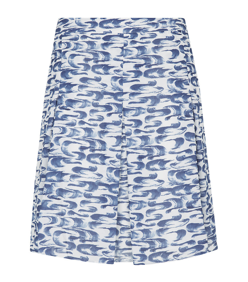 reiss stara paintstroke print skirt in blue lyst