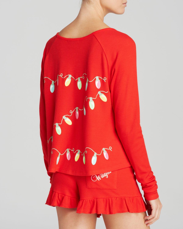 Wildfox Christmas Pajamas.Wildfox Red Glowing Lights Short Pyjama Set