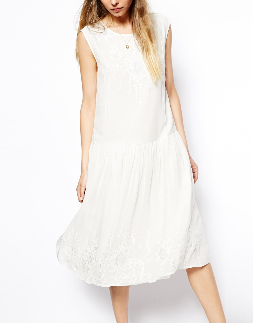 Asos vintage dress with dropped waist and embroidery in for Asos vintage wedding dresses