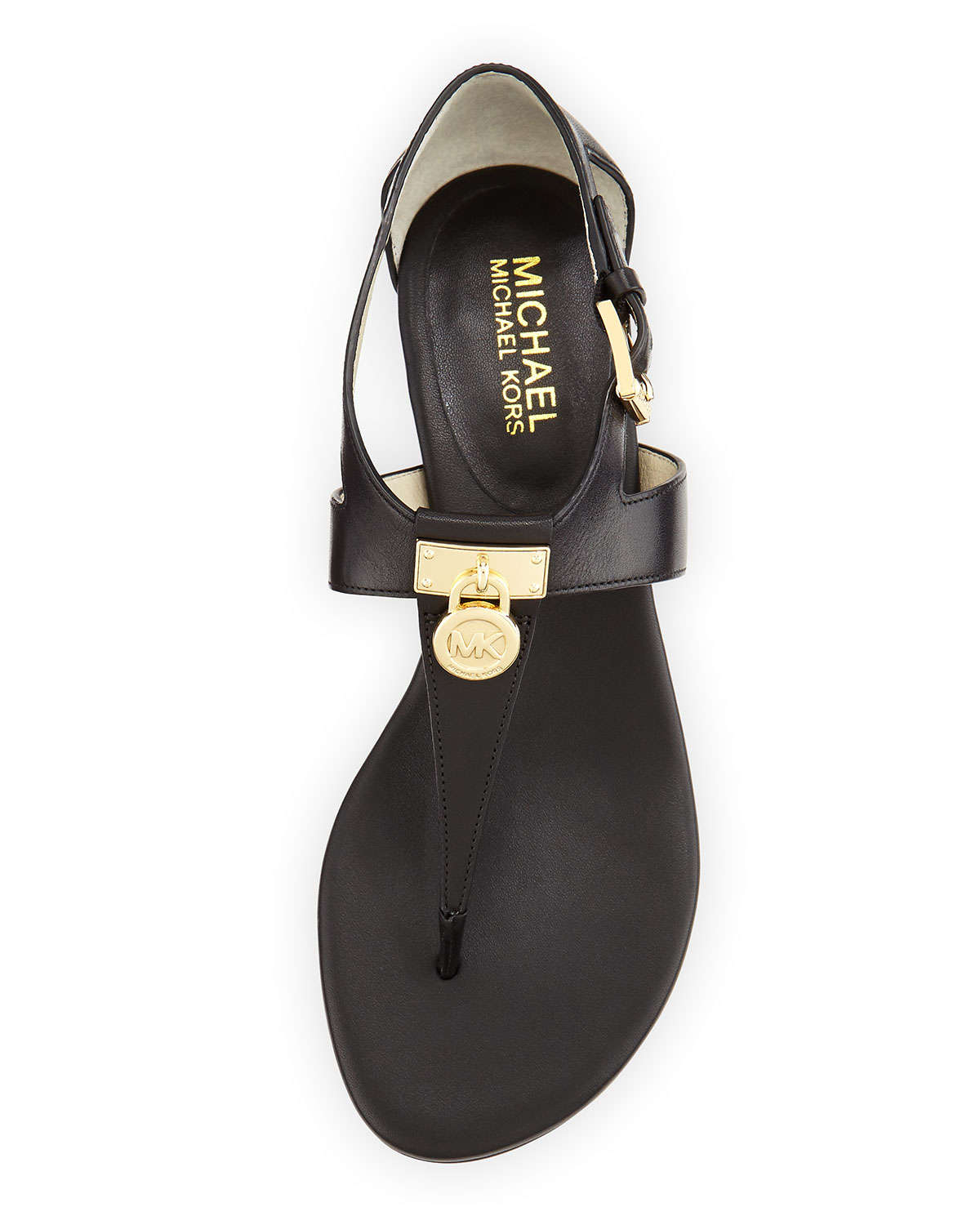 7ee771e1a312 Lyst - MICHAEL Michael Kors Hamilton Leather Thong Sandals in Black