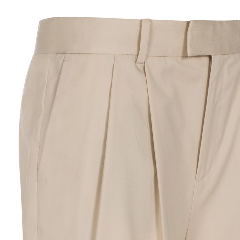 Lyst Paul Smith Women S Taupe Cotton Twill Pleat Front