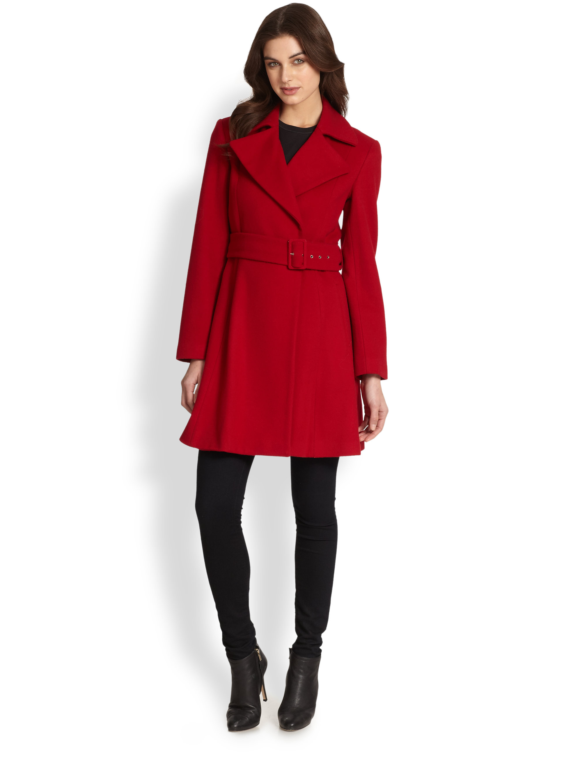 Sofia cashmere Wool Cashmere Belted Coat in Red | Lyst