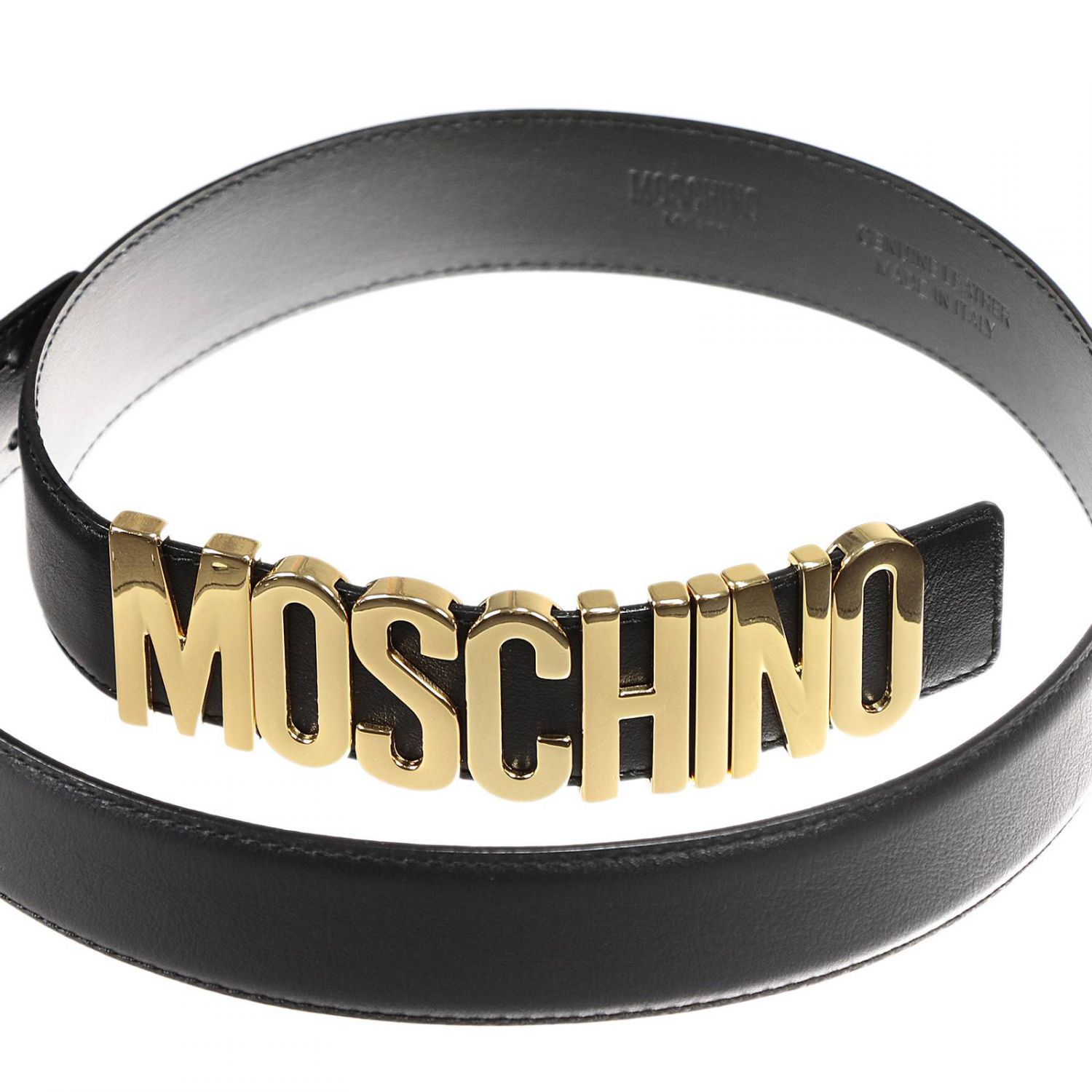 Moschino Belt Lettering Calf Leather In Black Lyst