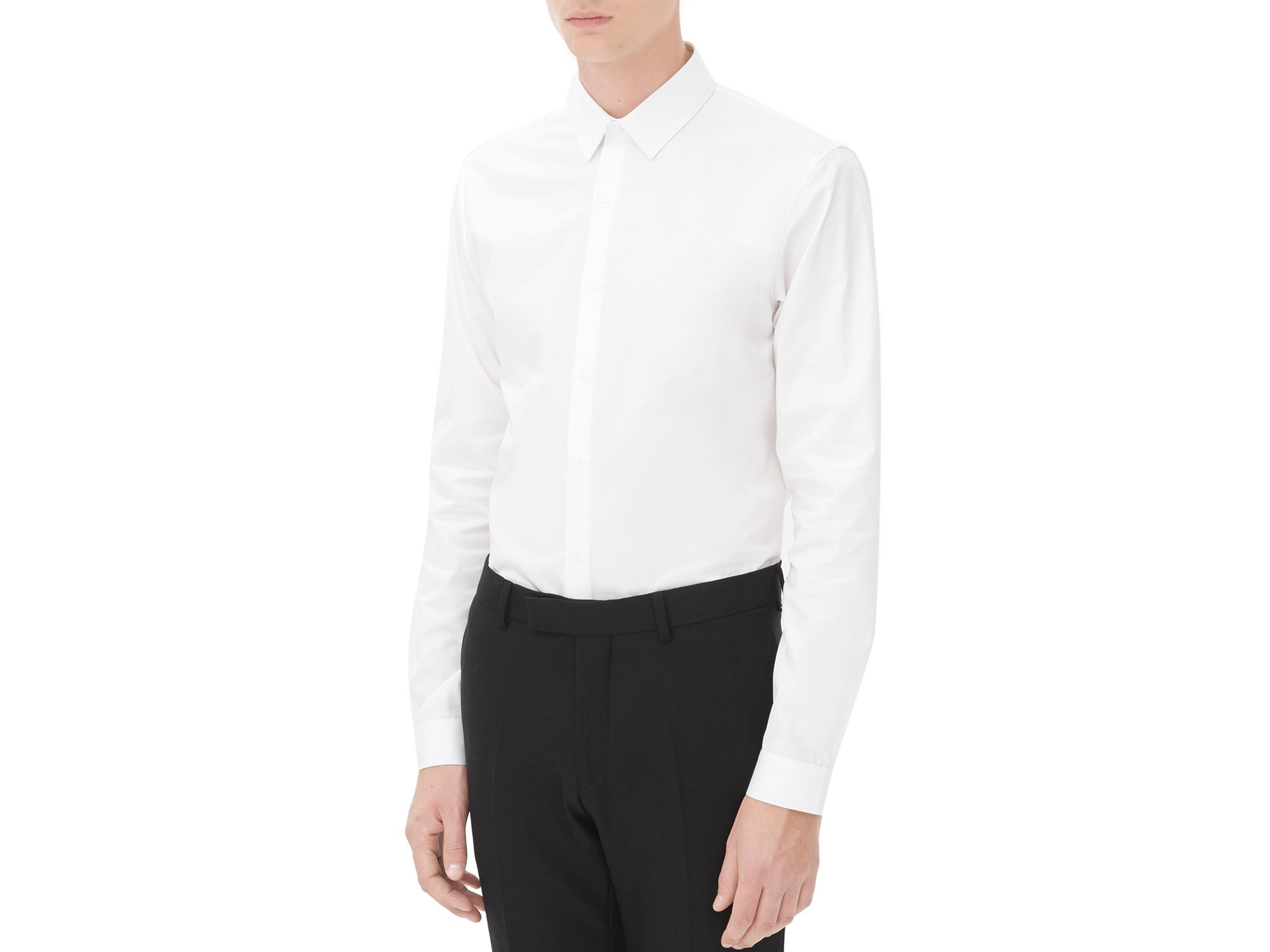 Sandro seamless slim fit button down shirt in white lyst for Slim fit white button down shirt