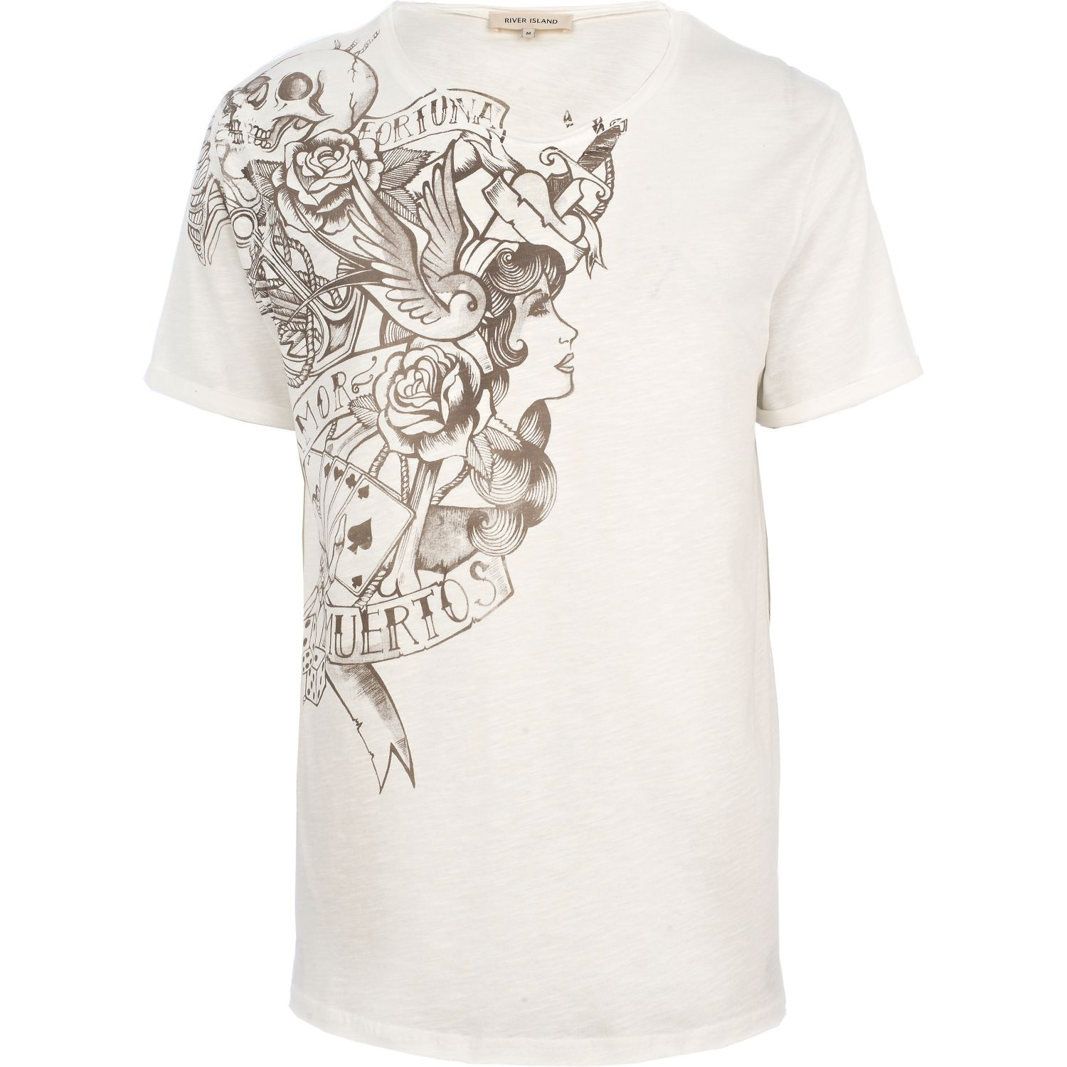 River Island Tattoo Placement Print Low Scoop T Shirt In