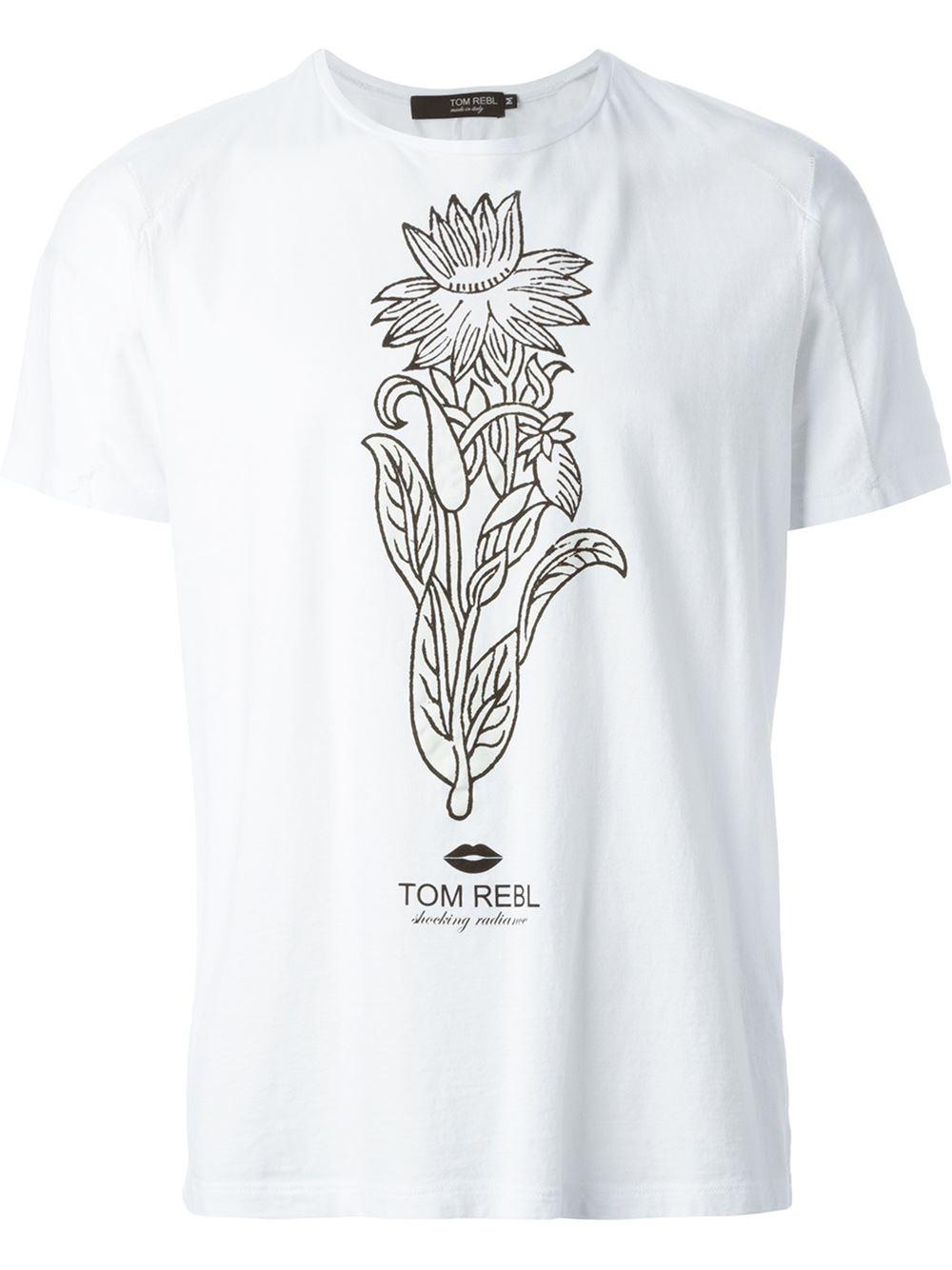 Tom rebl logo print t shirt in white for men lyst for Logo print t shirt