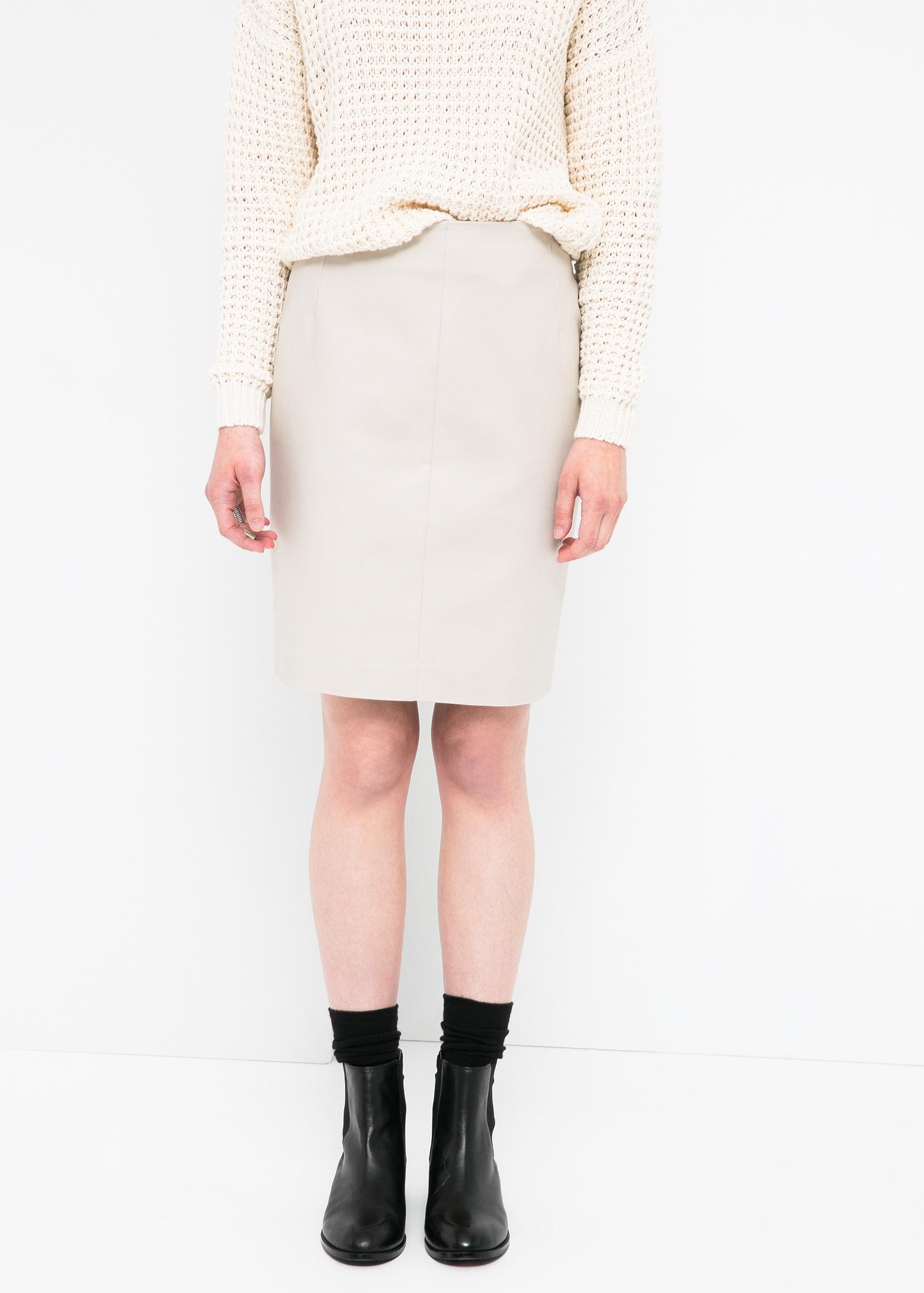 mango cotton pencil skirt in white lyst