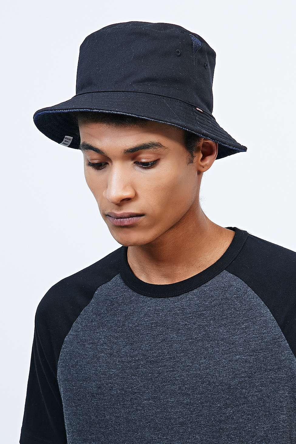 25bf46c2db3 ... buy herschel supply co. lake reversible bucket hat in black and denim  in 2d577 57c9c