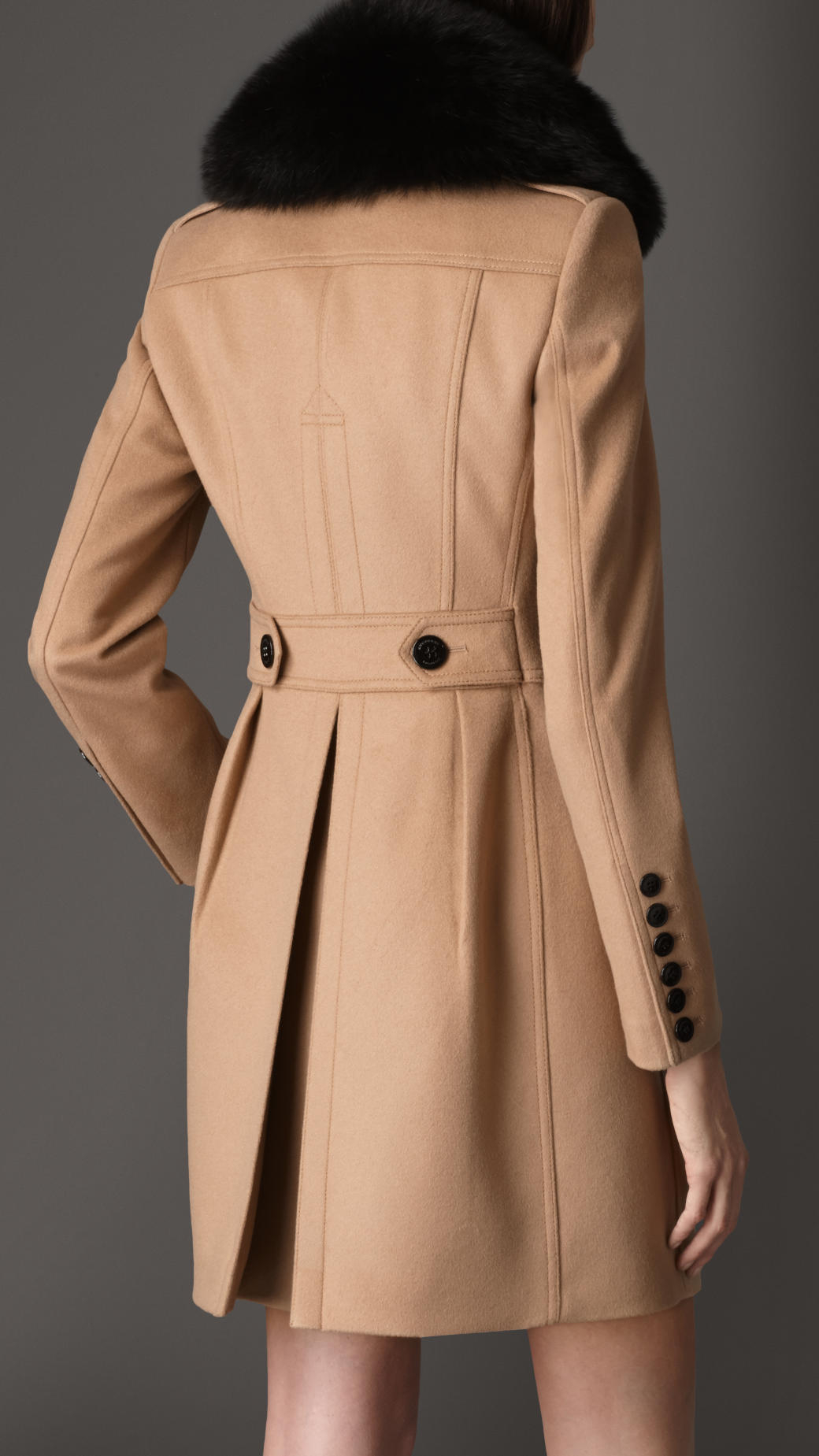 Burberry Pleat Detail Wool Cashmere Coat in Natural | Lyst