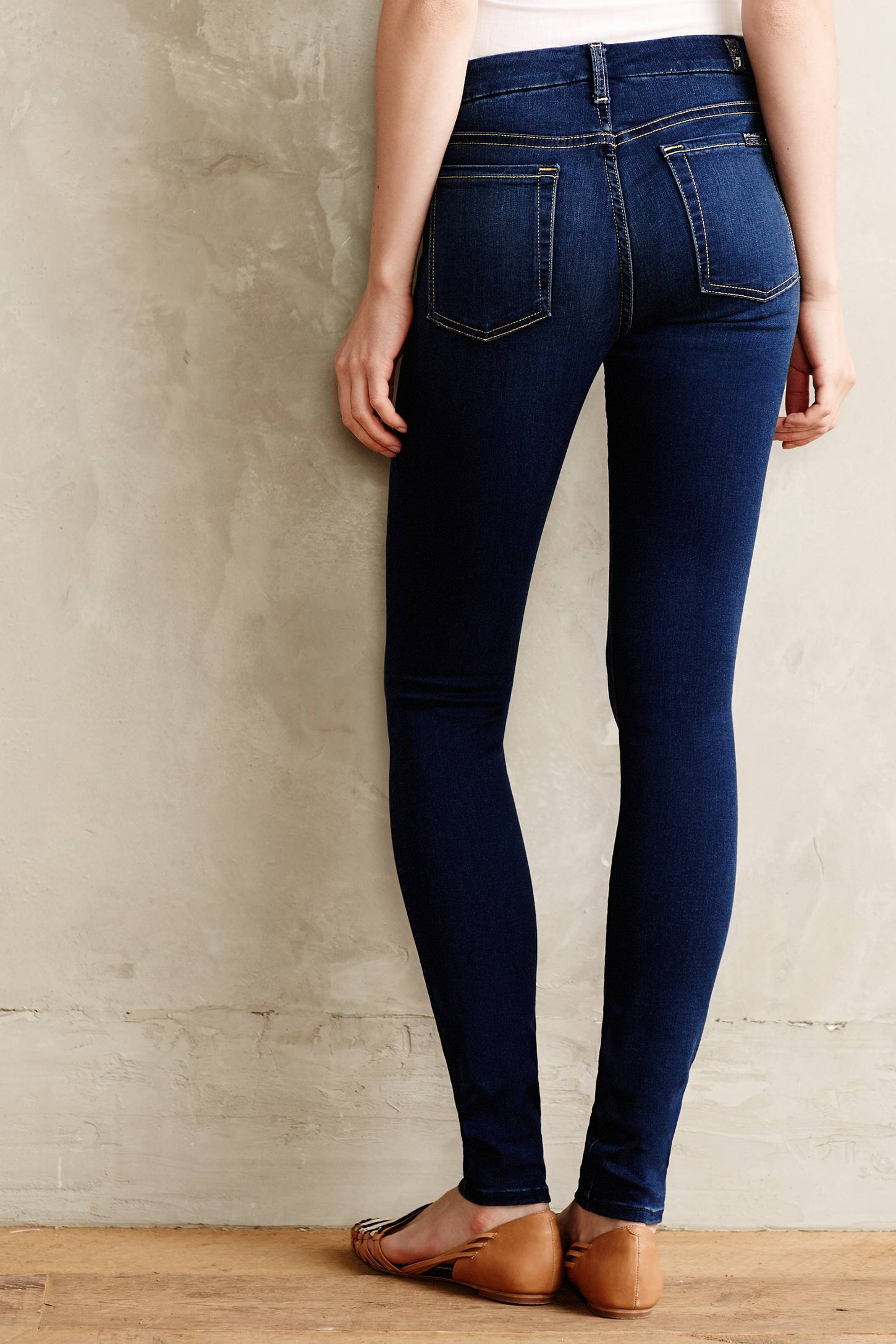 7 for all mankind Midrise Slim Illusion Jeans in Blue | Lyst