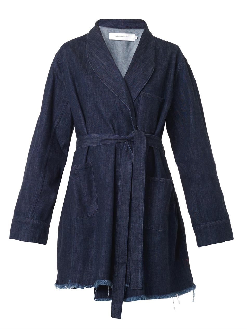 Marques Almeida Wrap Around Denim Coat In Blue Lyst