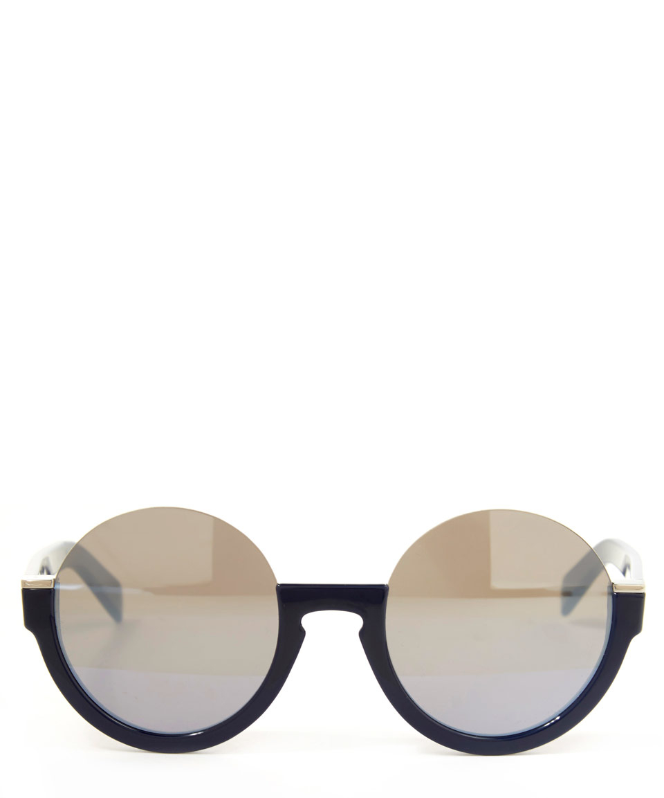 Marc Jacobs Gold Frame Sunglasses : Marc by marc jacobs Blue Half Frame Sunglasses in Blue Lyst
