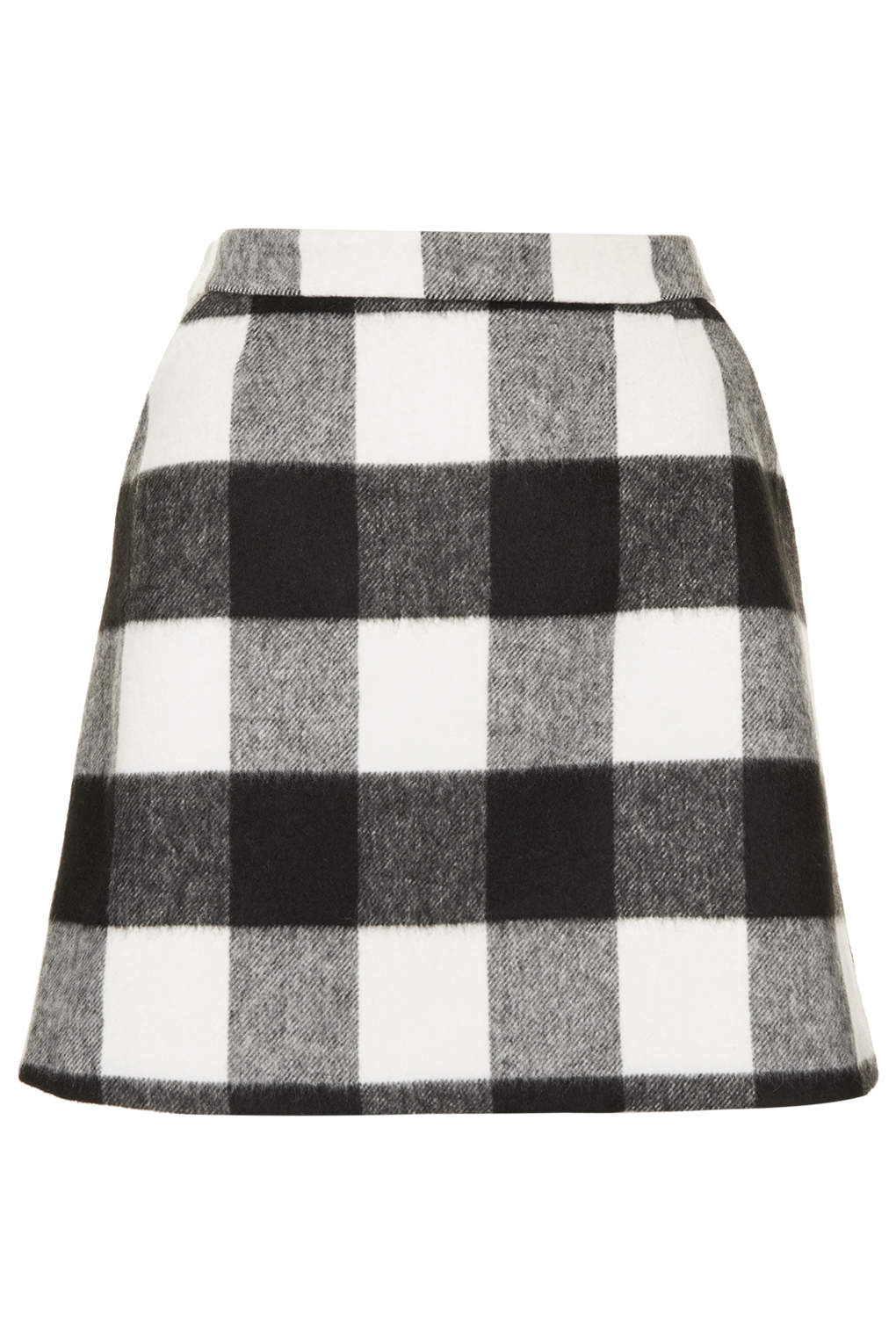 Topshop Brush Gingham Aline Skirt in Black | Lyst