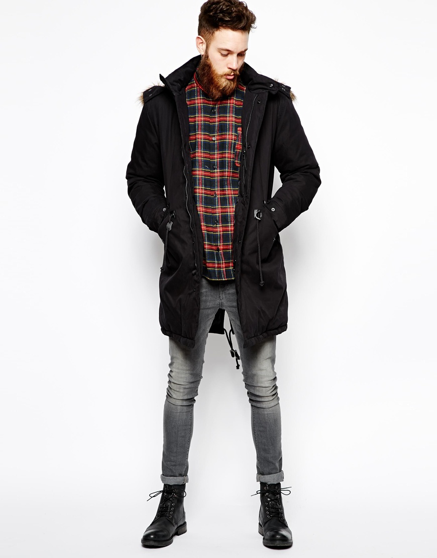 Asos Fishtail Parka With Down In Black in Black for Men | Lyst