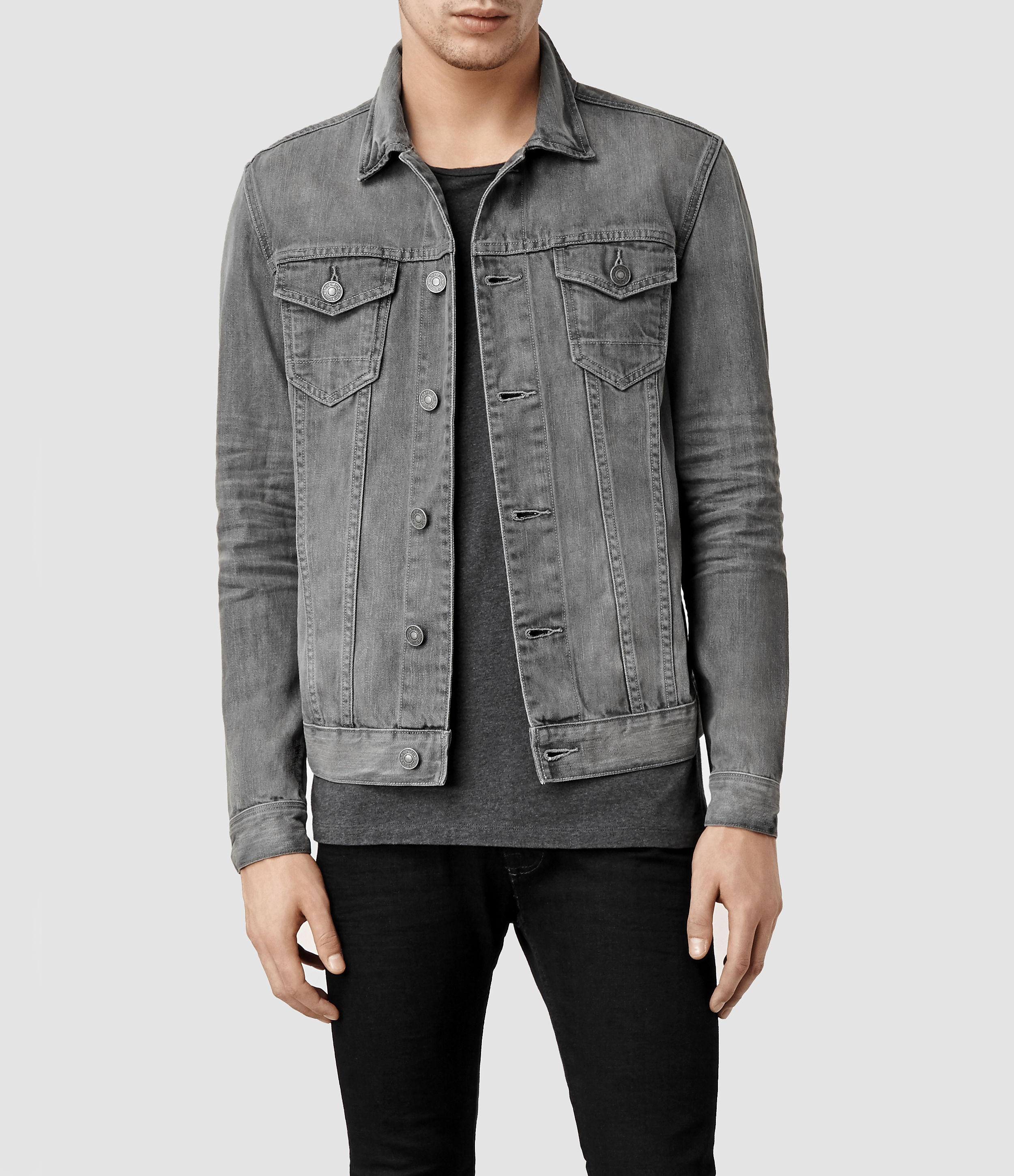 Allsaints Garford Denim Jacket in Gray for Men | Lyst