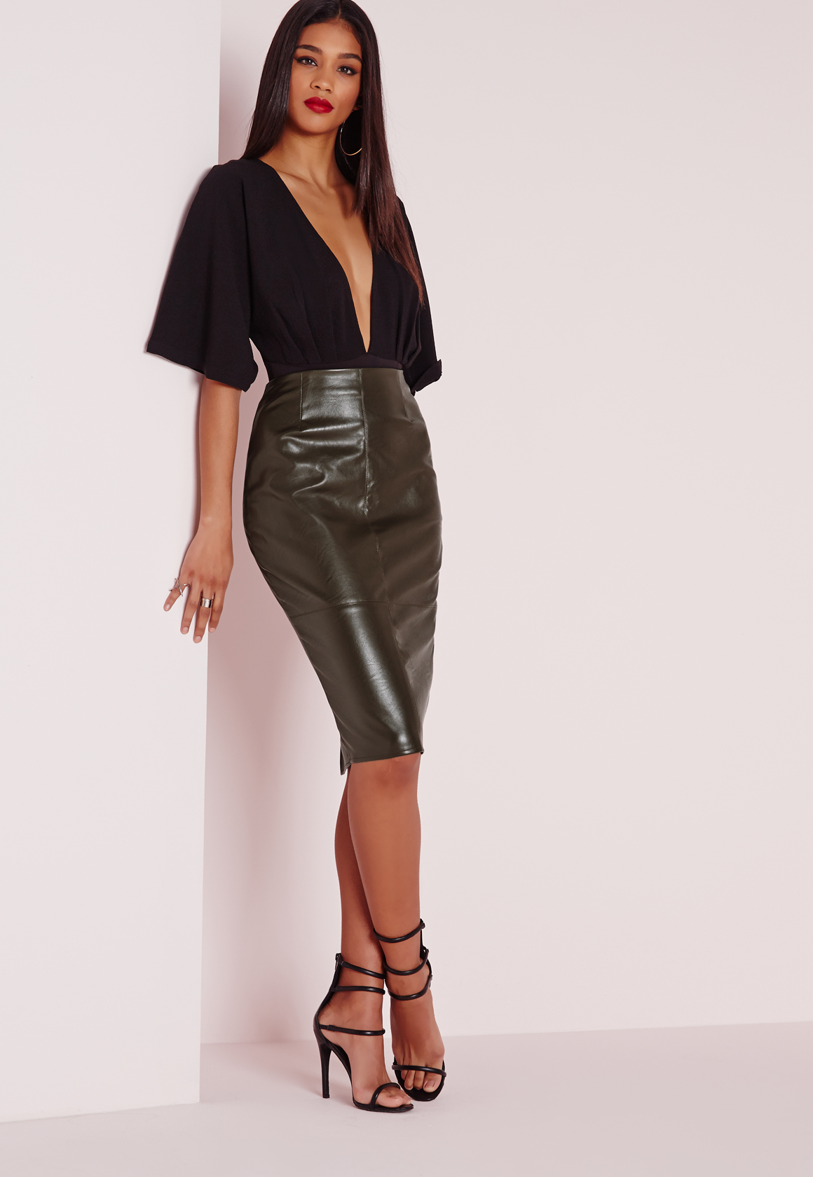 Missguided Faux Leather Seam Detail Midi Skirt Khaki in Natural | Lyst