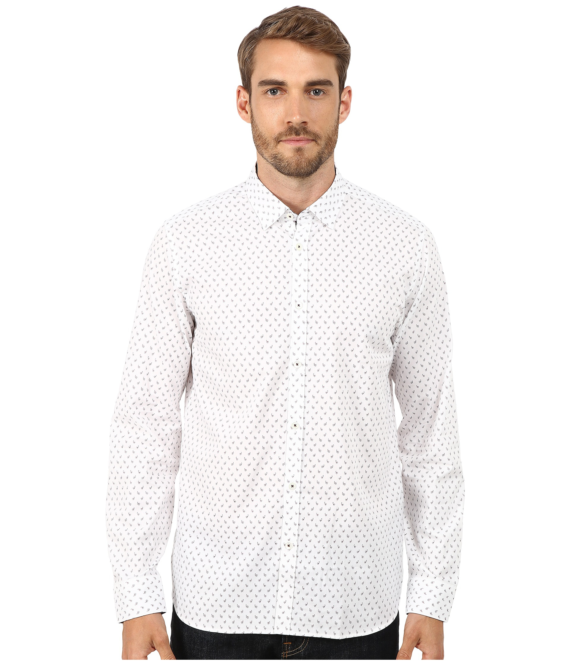 e81b4650a055 Lyst - Ted Baker Autumnn Long Sleeve Paisley Print Shirt in White ...
