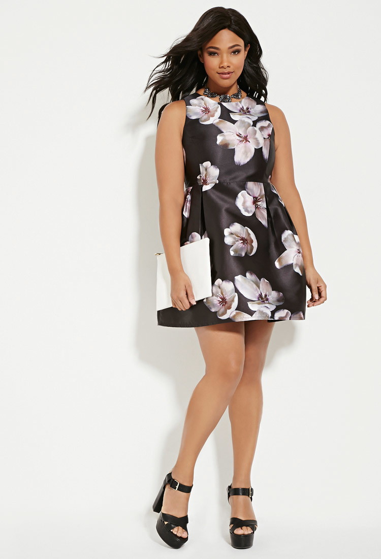 Forever 21 Plus Size Floral A-line Dress in Purple - Lyst