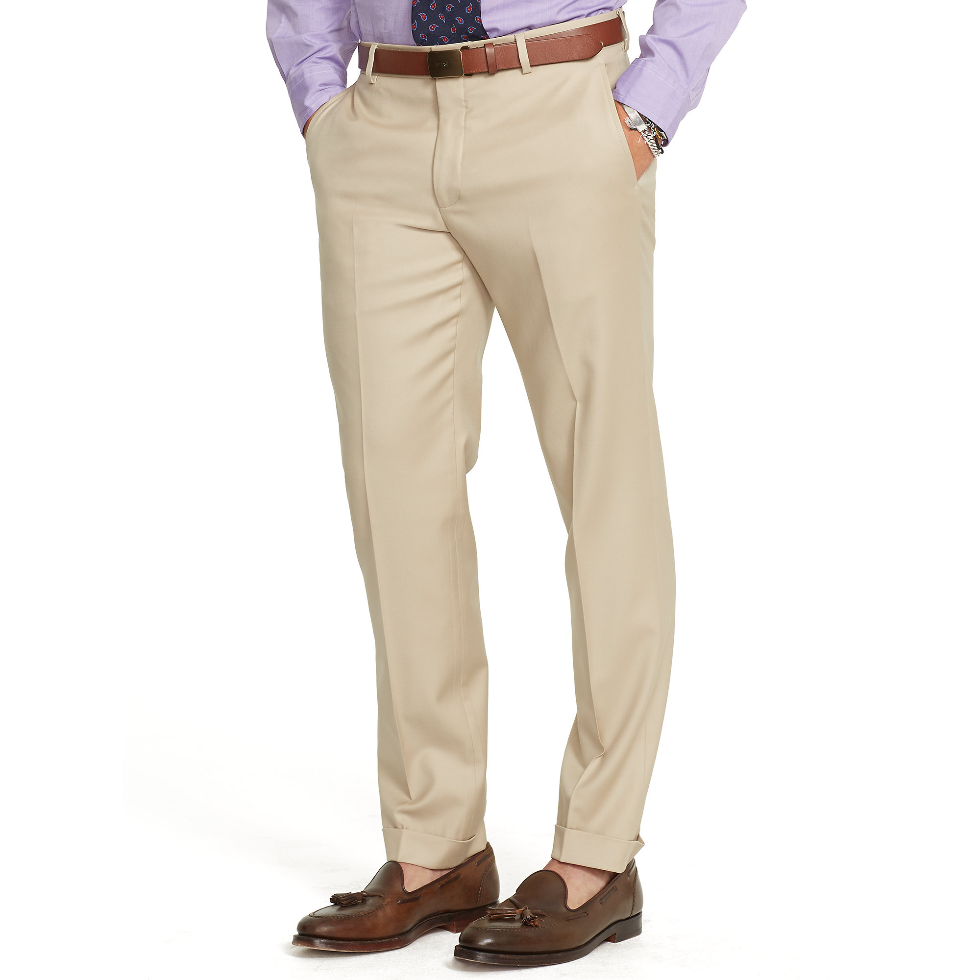ralph lauren brown slim fit wool twill trouser for men. Black Bedroom Furniture Sets. Home Design Ideas