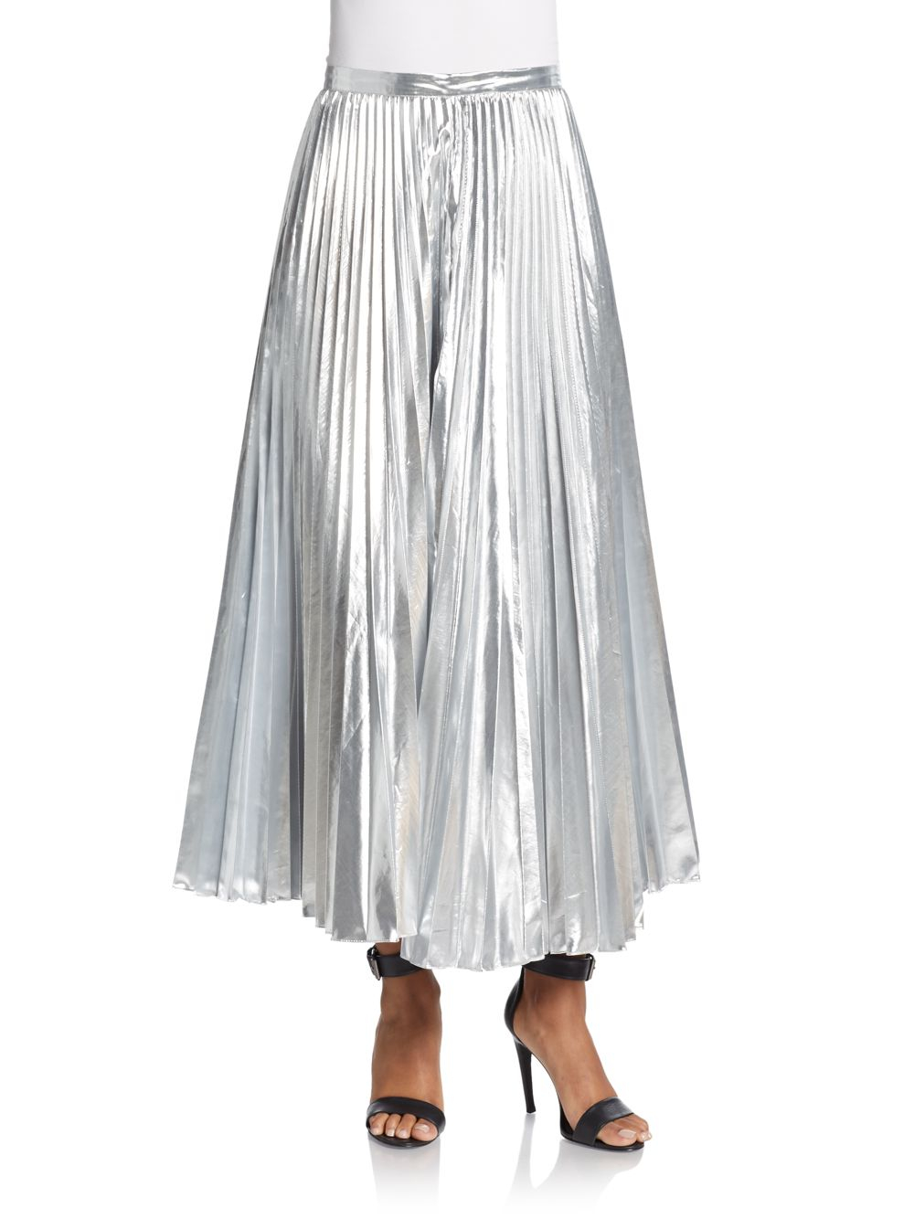 93827c95ab Lyst - DKNY Metallic Pleated Maxi Skirt in Metallic