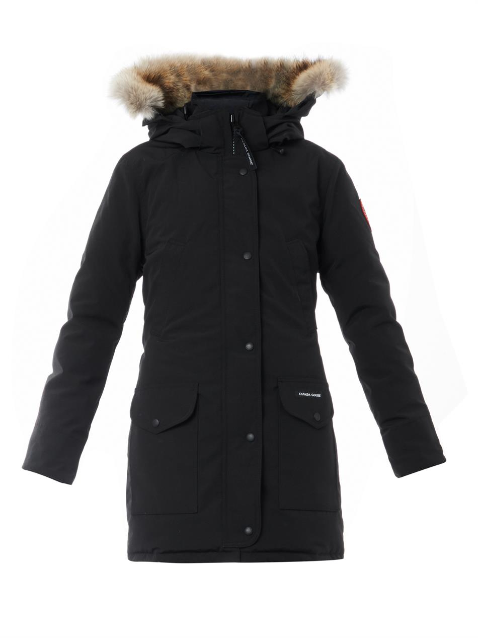 Canada Goose womens outlet fake - Canada goose Trillium Fur-Trimmed Down Jacket in Black | Lyst