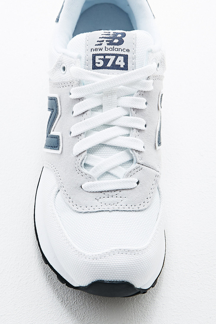 new balance 574 white /navy textile trainers