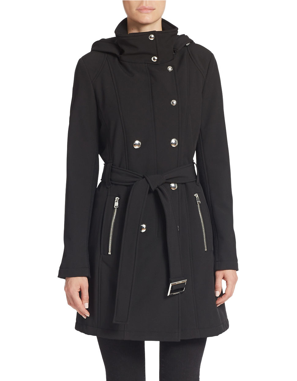 A contemporary classic inspired by the essential trench coat in a modern design featuring characteristic details in an urban navy colour. Vent at back D-ring buckle on belt Concealed double-breasted button closure Welt pockets Epaulettes Length of coat: ,5 cm .