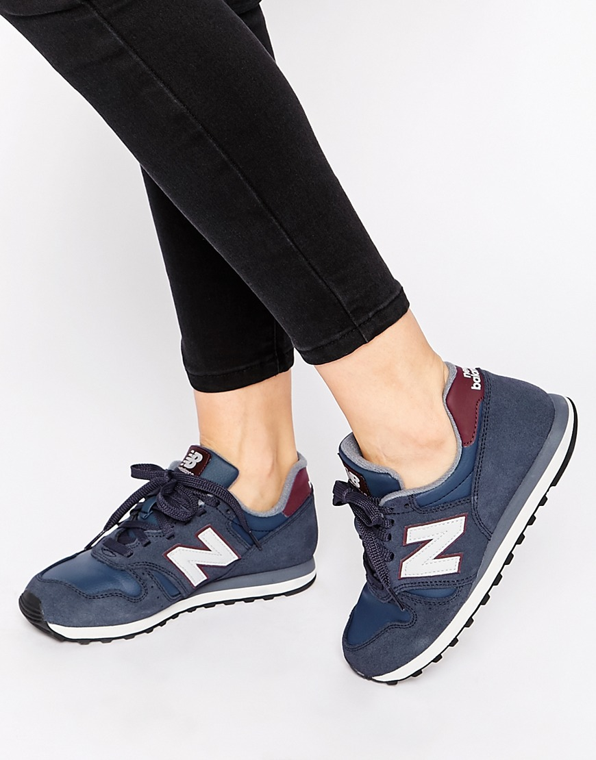 lyst new balance 373 navy burgundy suede trainers in blue. Black Bedroom Furniture Sets. Home Design Ideas
