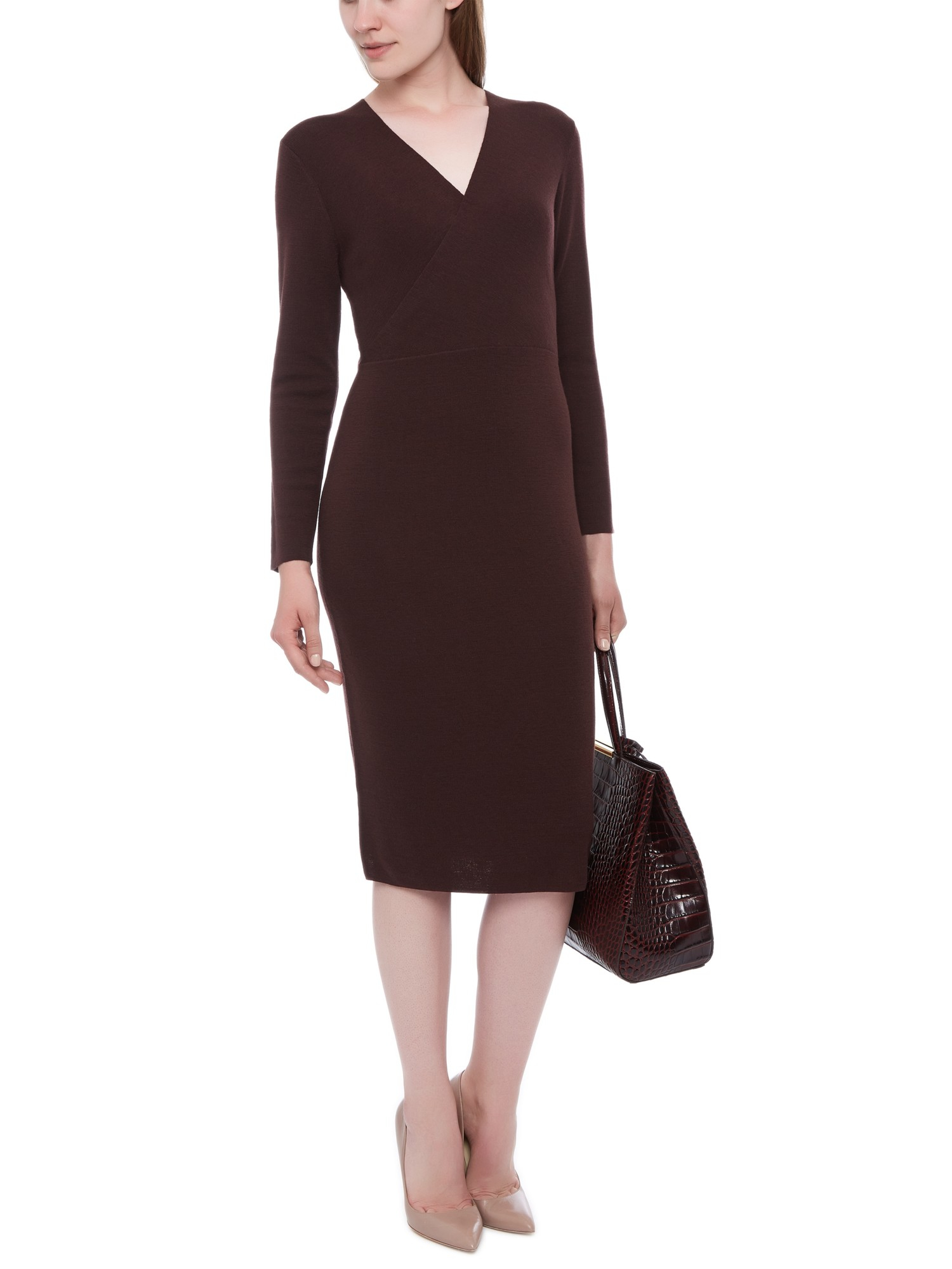 Jaeger Wool Knit Wrap Dress In Brown Lyst