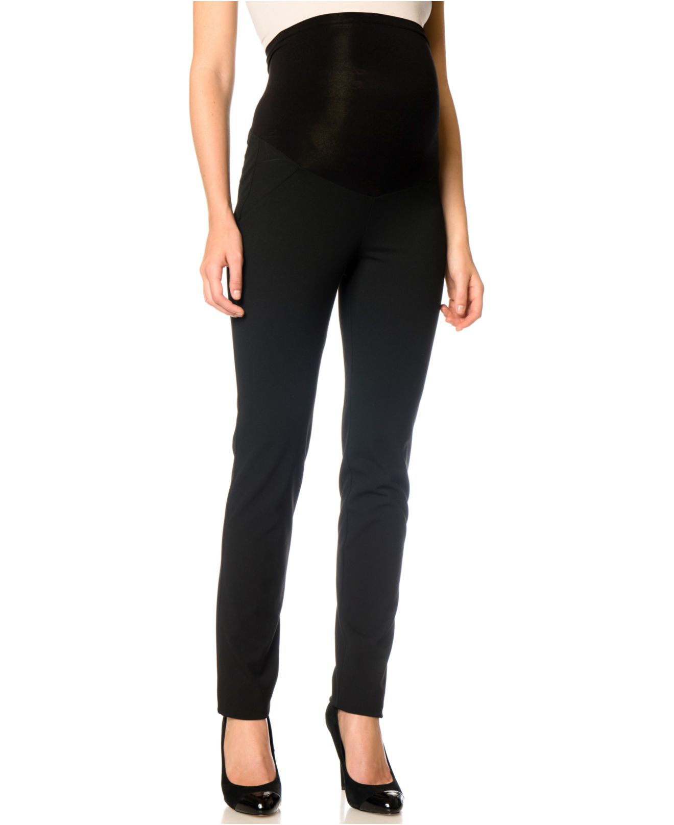 Jessica simpson Maternity Straight-Leg Twill Pants in Black | Lyst