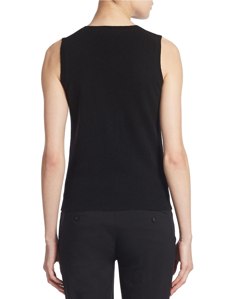 Lyst Lord Taylor Cashmere Crewneck Shell In Black