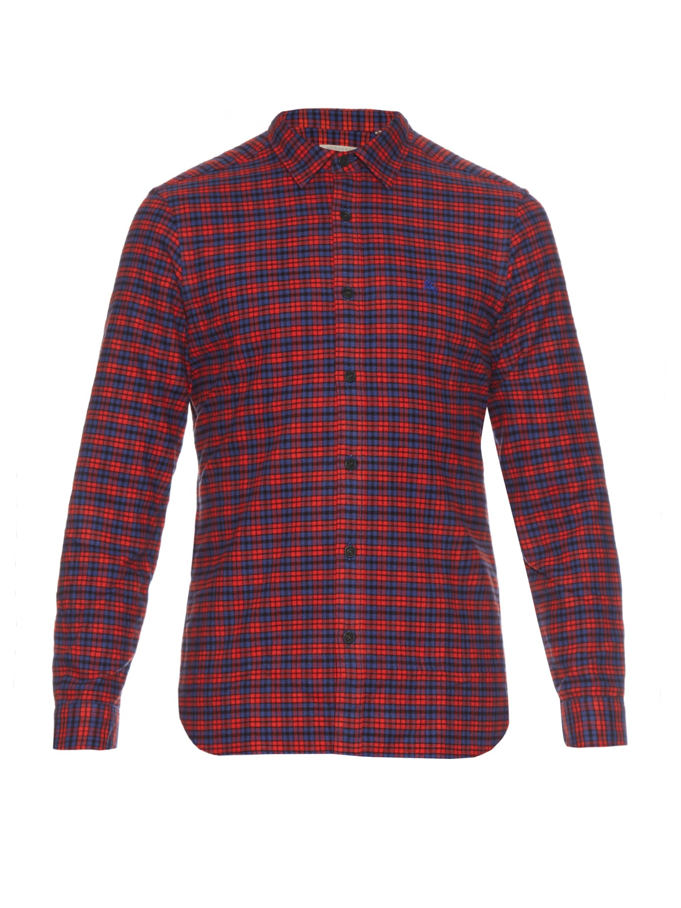 lyst burberry brit checked cotton flannel shirt in red. Black Bedroom Furniture Sets. Home Design Ideas