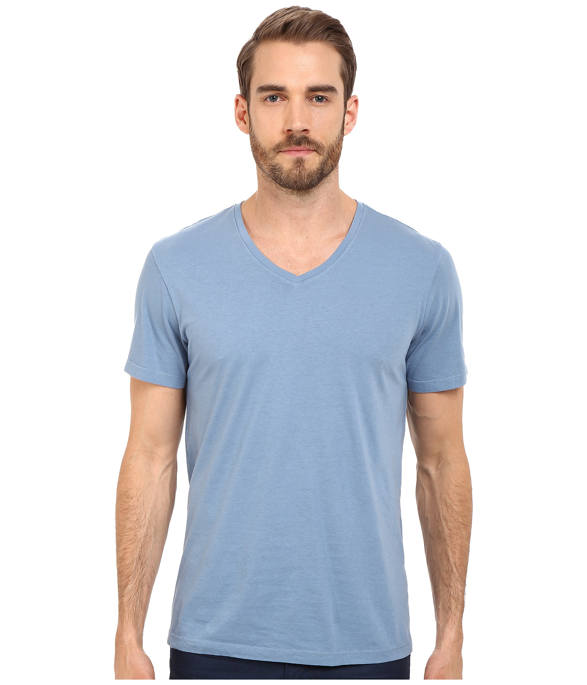 Michael stars v neck cotton tee in blue for men lyst for Michael stars tee shirts