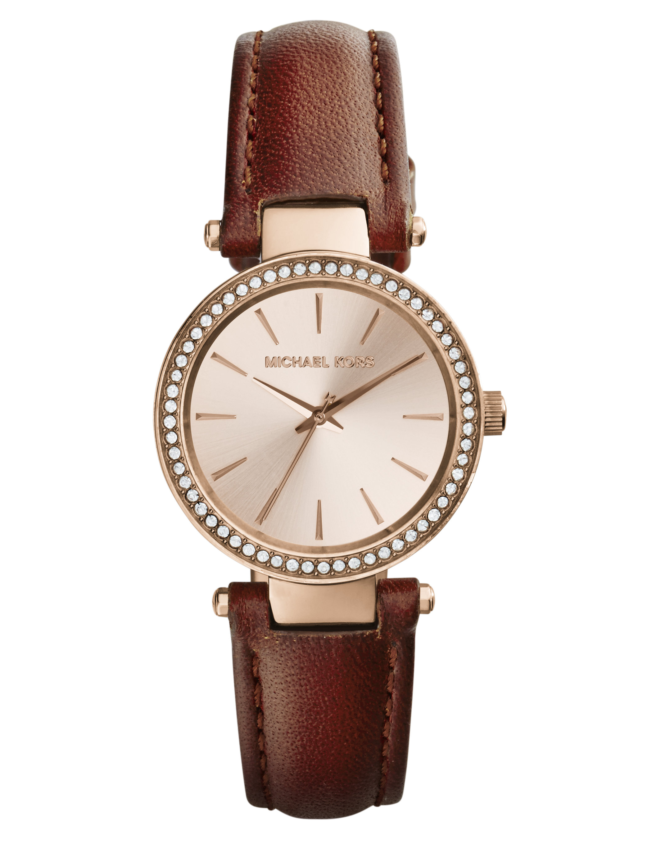 Lyst michael kors darci petite pav rose goldtone stainless steel leather strap watch in for Watches michael kors