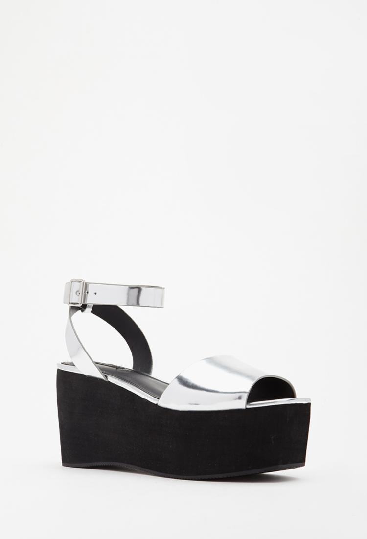 Lyst - Forever 21 Metallic Faux Leather Platform Sandal in Metallic 94813f9799