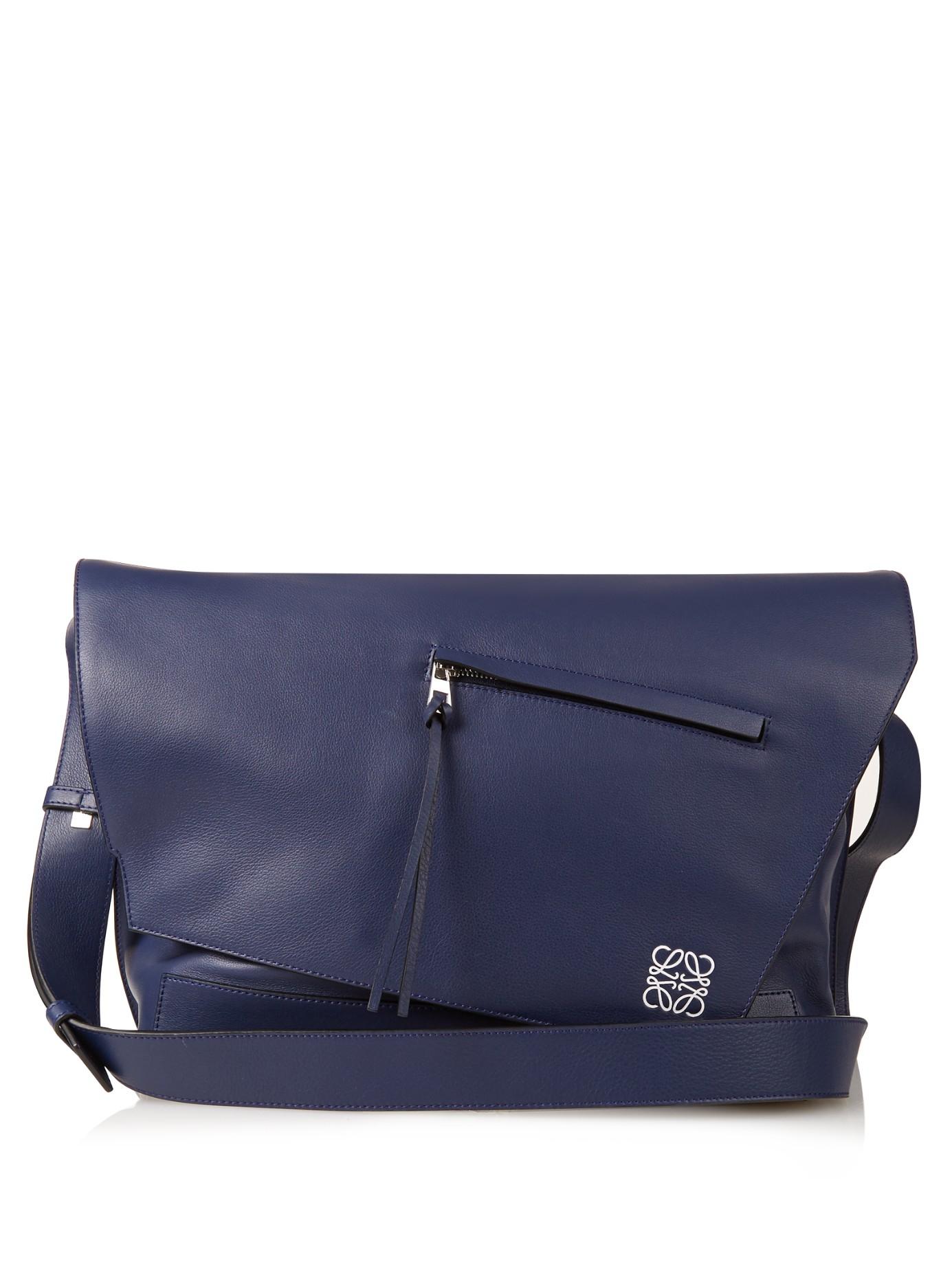 Loewe Anton Leather Messenger Bag In Blue For Men Lyst