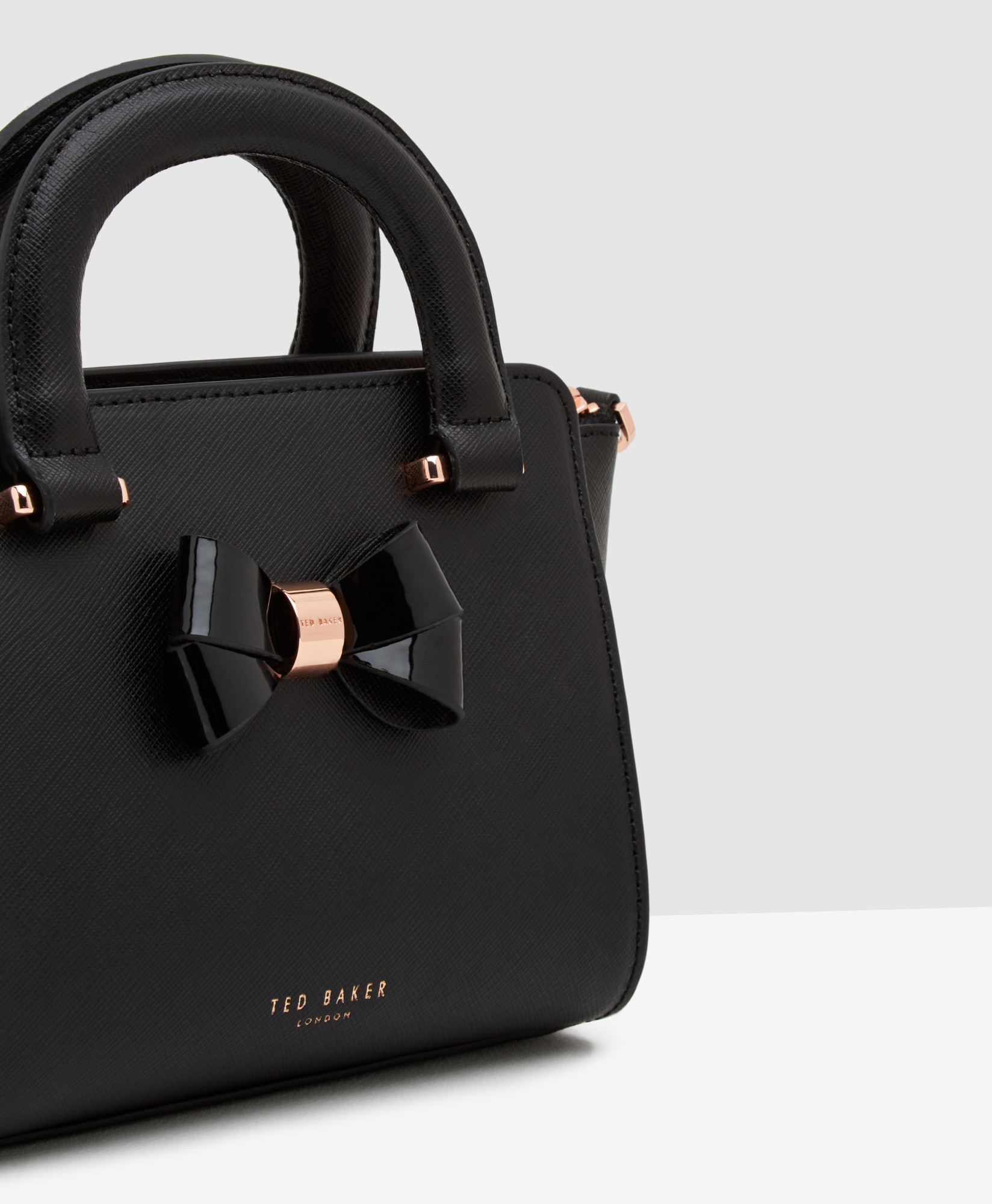 Lyst - Ted Baker Mini Bow Crosshatch Leather Shopper Bag in Black dc46e82644
