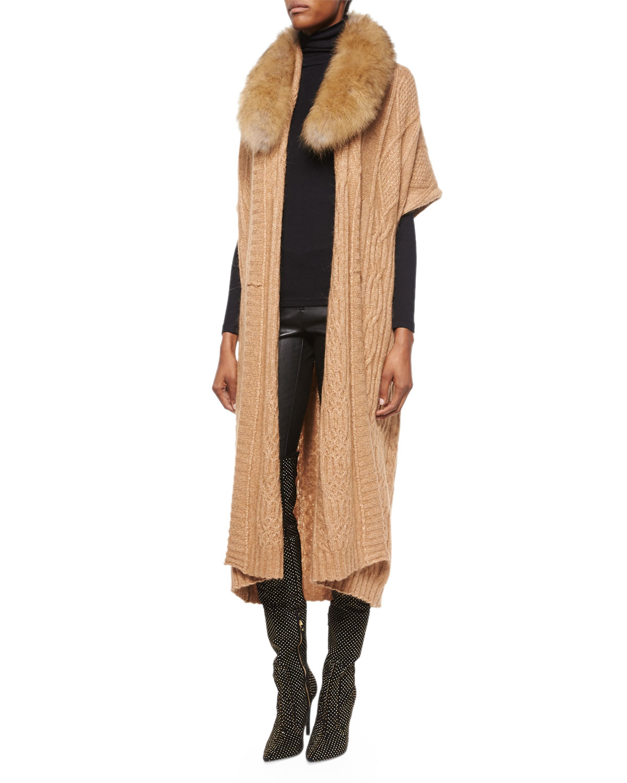 Alice   olivia Klay Long Cable-knit Cardigan W/detachable Fur ...