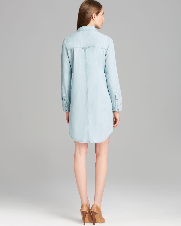 Lyst eileen fisher denim shirt dress in blue for Ladies light denim shirt