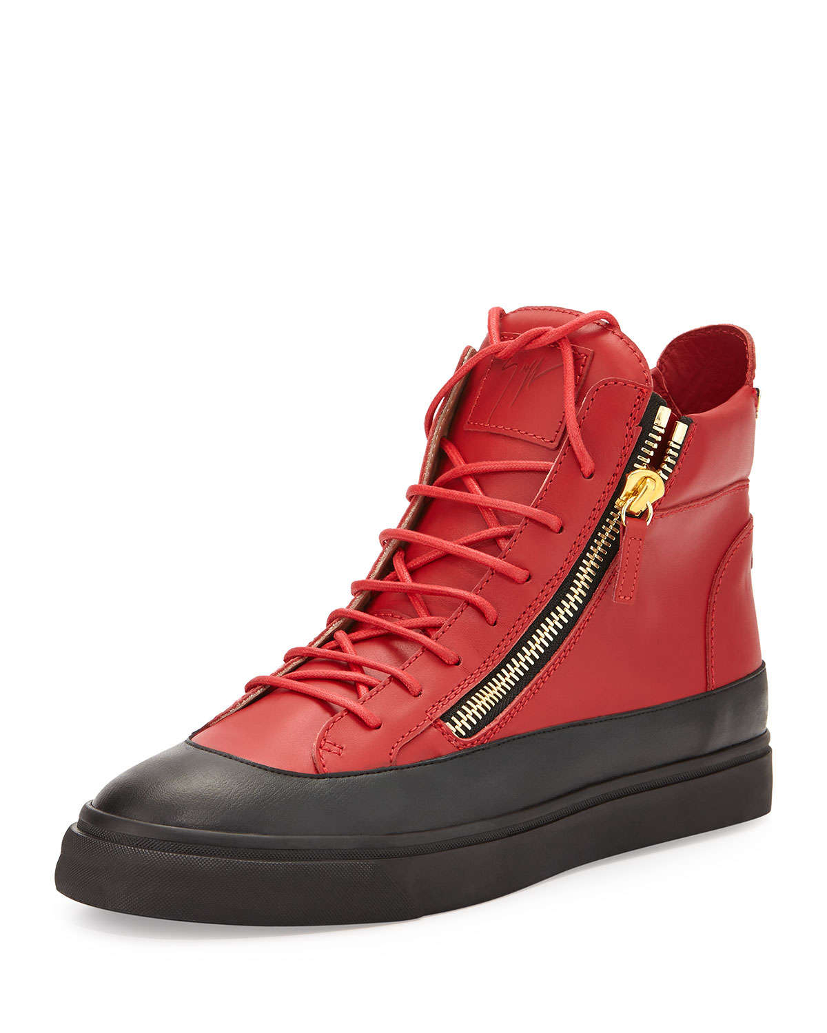 giuseppe zanotti mens zip leather high top sneaker in red for men lyst. Black Bedroom Furniture Sets. Home Design Ideas