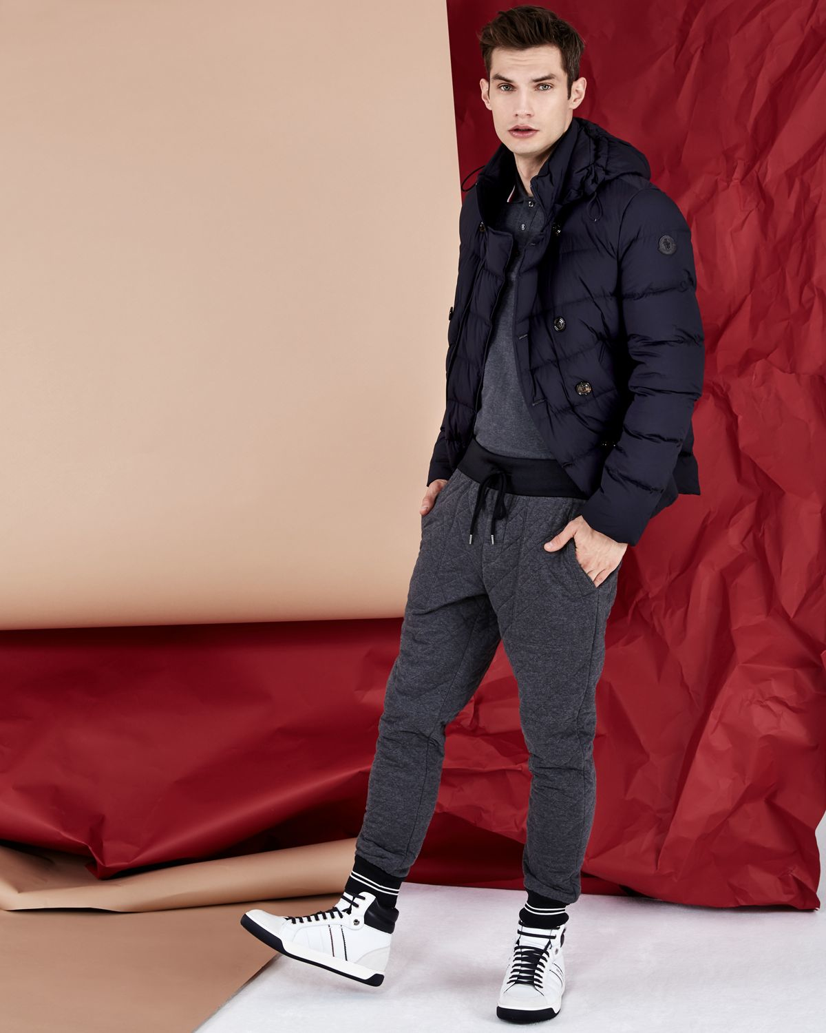 Moncler Loirac Quilted Peacoat in Blue | Lyst : quilted pea coat - Adamdwight.com