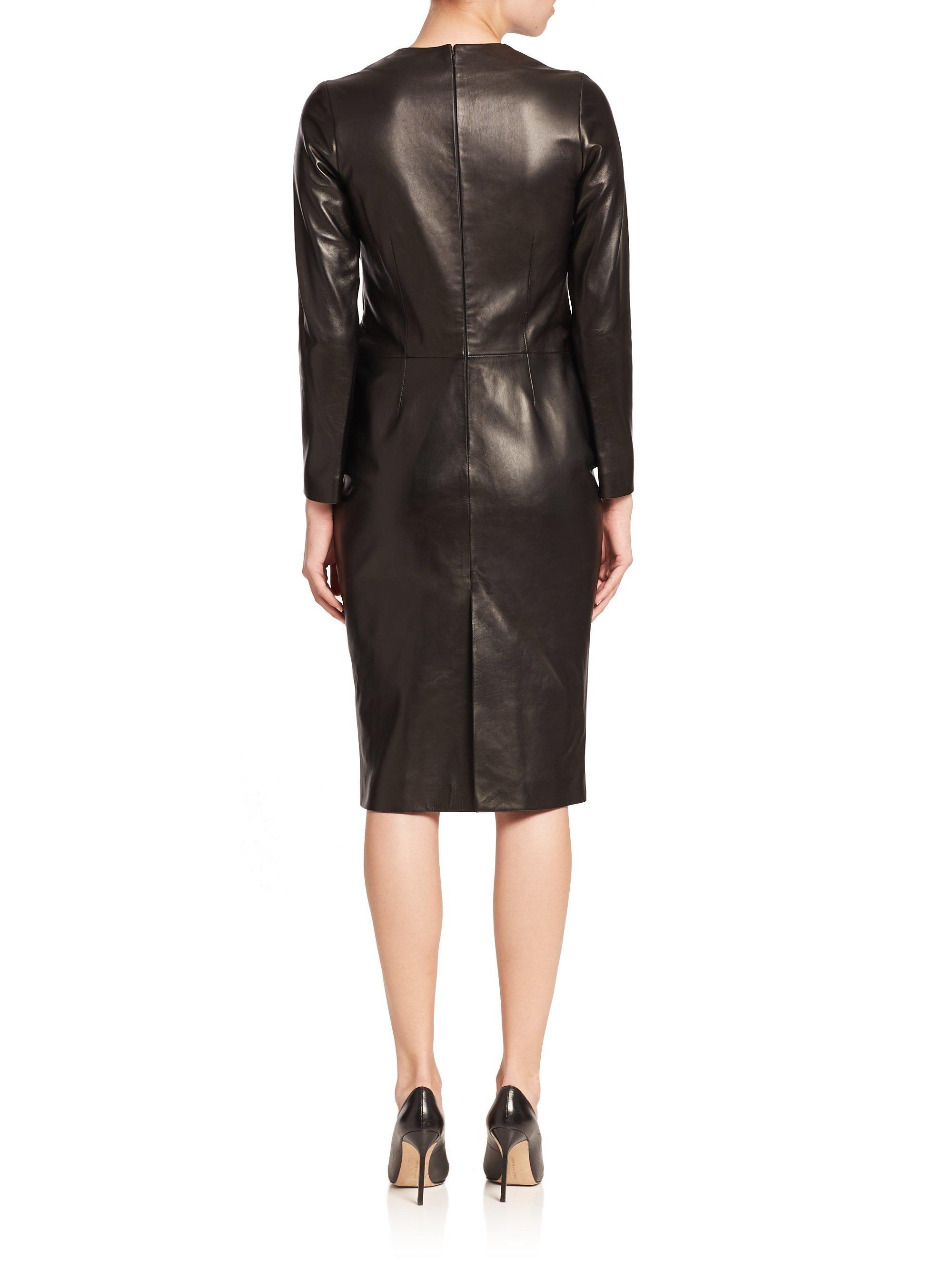 La prestic ouiston Parfaite Long-sleeve Leather Dress in Black - Lyst