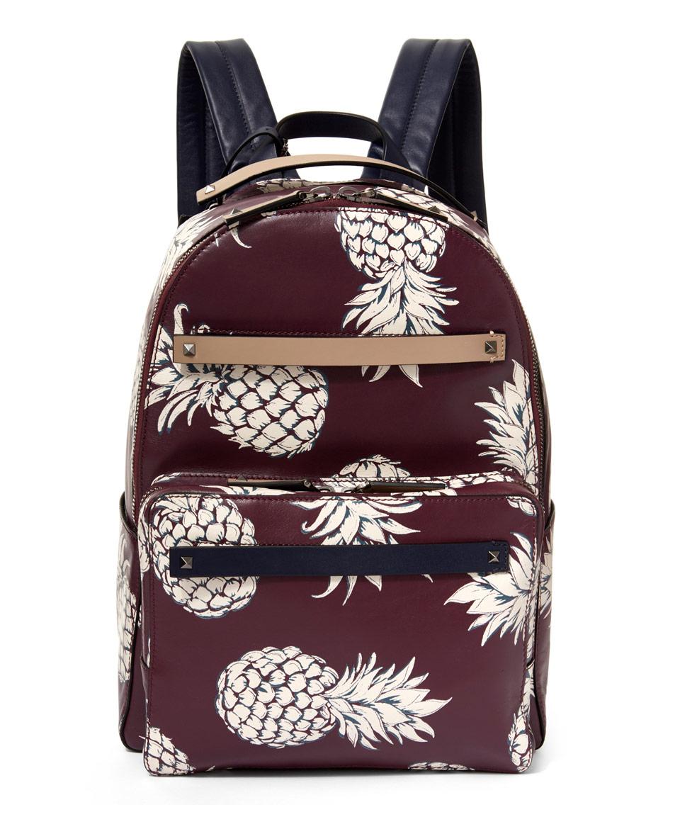 Valentino White Burgundy Pineapple Backpack
