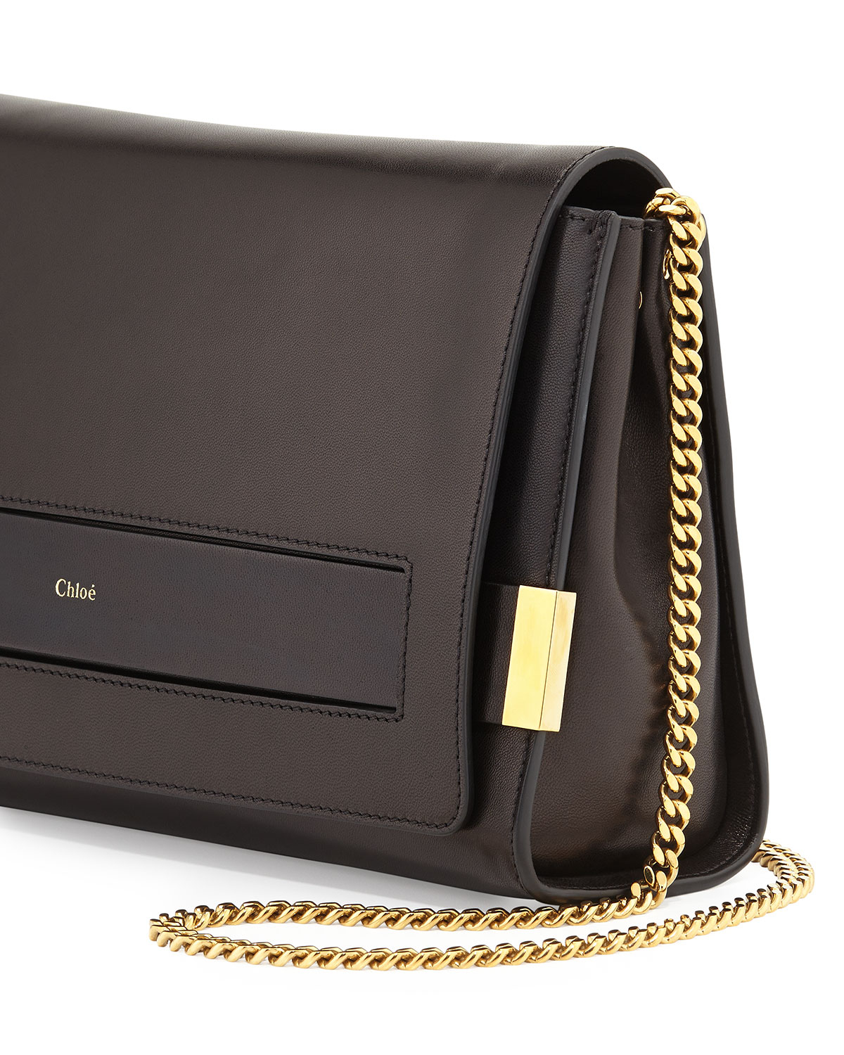 Lyst - Chloé Elle Large Clutch Bag With Chain Strap in Black 4df91974db7