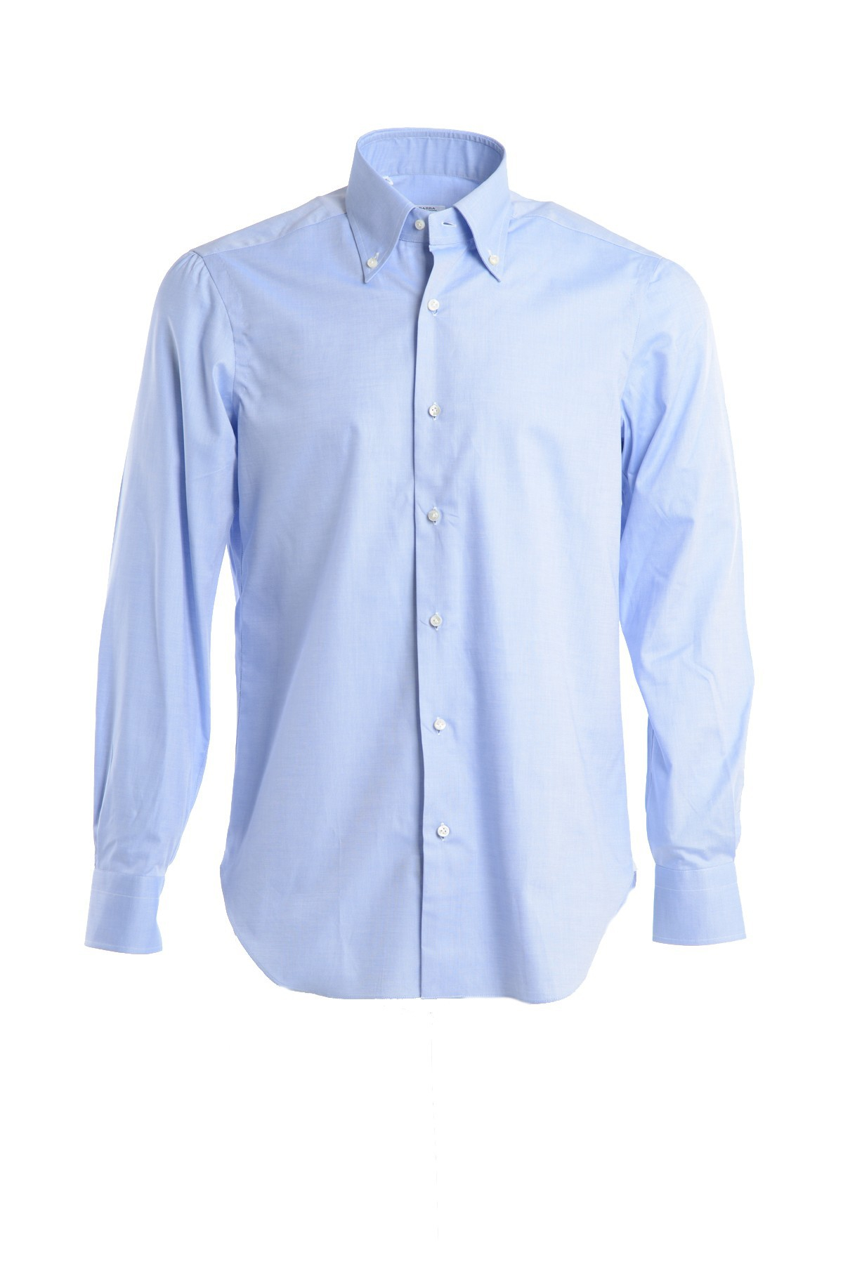Barba Solid Colour Button Down Shirt In Blue For Men