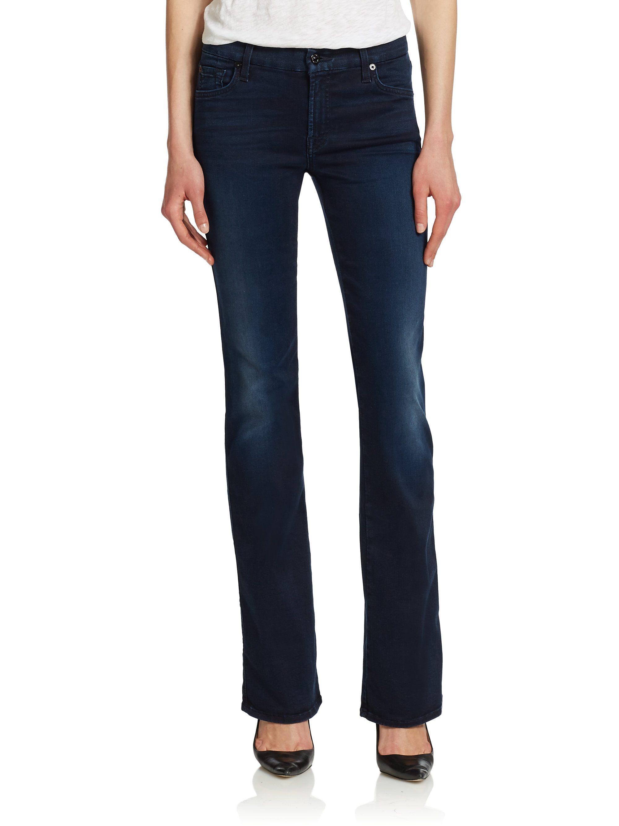 lyst 7 for all mankind the second skin kimmie bootcut jeans in blue. Black Bedroom Furniture Sets. Home Design Ideas