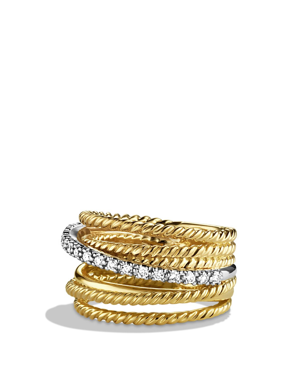 David Yurman Crossover Wide Ring With Gold